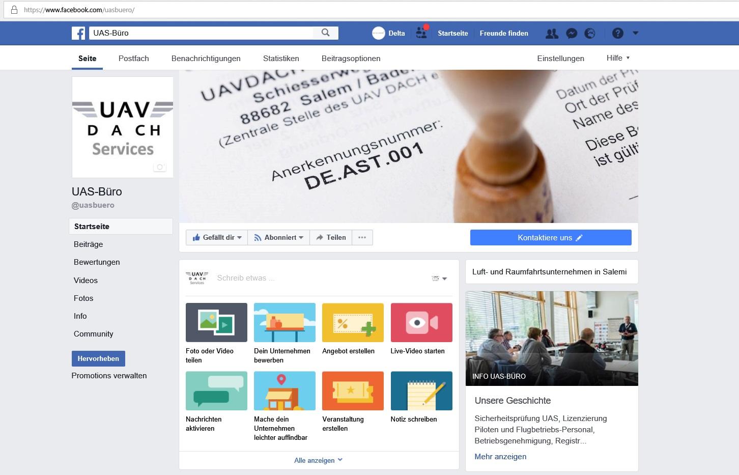 Facebook seite UAS Office