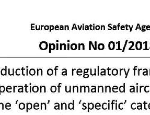 """EASA veröffentlicht die """"Opinion 01/2018"""" zum UAS Betrieb in der open/specific Kategorie"""